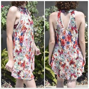Floral Halter Dress with Keyhole Back